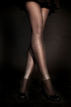 Hand Printed EXCLUSSIVE  Tights - Starry Night, Gold on Sheer Black, Flash Back collection
