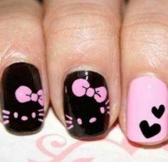Hello Kitty in black pink nail art creative-nails Fancy Nails, Love Nails, Pretty Nails, Nail Lacquer, Nail Polish, Nail Gel, Pink Nail Art, Pink Nails, Black Nails