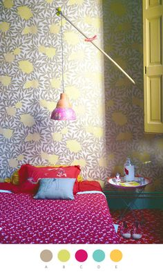 I occasionally get the urge to put a yellow flowered wallpaper in my foyer, for example when I see photos like this.