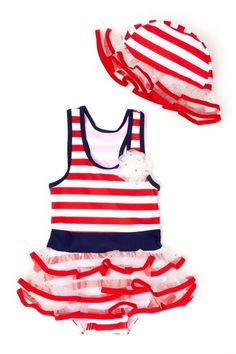 Toddler Striped Sailor Bathing Suit & Hat.