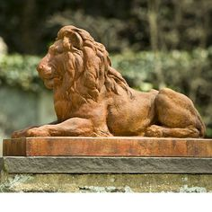 Crafted of cast stone, the regal Classic Lion Statue from Campania will bring sophistication to your garden. This lion in repose statue exudes strength, making it easy to see why it has long been a symbol of courage and nobility. Stone Garden Statues, Garden Stones, Crystal Garden, Like A Lion, Cast Stone, Lawn And Garden, Garden Urns, Art Techniques, Lion Sculpture