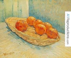 Still Life With Basket And Six Oranges by Vincent Van Gogh