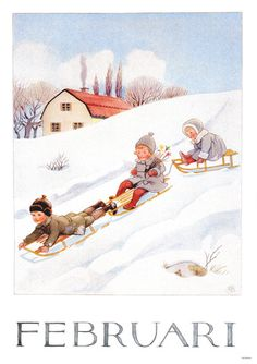 Set of 12 new single postcards by Elsa Beskow, 12 months, cute Elsa Beskow, Images Vintage, Vintage Pictures, Vintage Cards, Vintage Postcards, Yule Goat, Groundhog Day, Children's Book Illustration, Winter Scenes