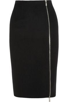 Michael Kors|Zipped felted-wool pencil skirt|NET-A-PORTER.COM