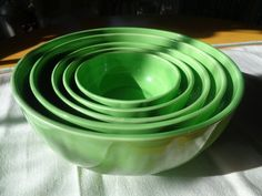Vintage, Antique Nesting Bowls Set, Apple Green, Germany by FairchildsInc on…