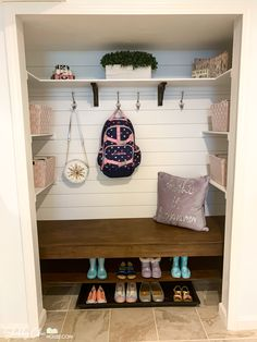 Check out the transformation of the catch-all closet in our mudroom into a shabby chic shiplap nook with tons of shelving, a bench as well as a shoe rack. Closet Bench, Closet Nook, Entry Closet, Front Closet, Closet Layout, Hall Closet, Bench Mudroom, Closet To Mudroom, Closet Transformation