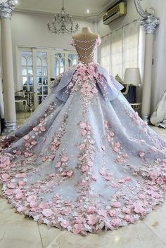 Custom Made Great Ball Gown Wedding Dresses Pretty Flowers Quinceanera Dresses, Ball Gown Long Backless Wedding Gowns Light Blue Quinceanera Dresses, Quinceanera Themes, Formal Dresses For Teens, Dress Formal, Formal Wear, Backless Wedding, Wedding Gowns, Prom Gowns, Evening Gowns