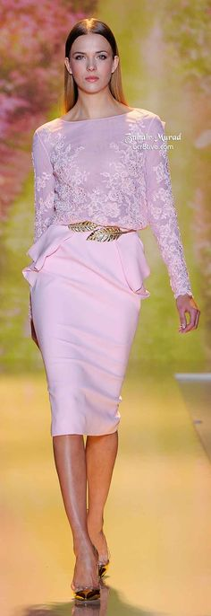 Zuhair Murad Spring 2014 Haute Couture - Love the gold belt, makes for a beautiful  cinched waistline.