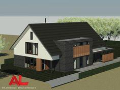 AL architectuur - Vrijstaande woning in Nunspeet | AL Architecten BNA | Architectuur | Interieur | Nieuwbouw | Nieuwbouwwoning | Vrijstaande villa | Vrijstaande woning | Woningbouw | Woonhuis | Vlakke dakpannen | Schuin dak | Zadeldak | Stucwerk | Gevelstenen | Baksteen | Zink | Hout | Glas | Gevelbekleding | Natuurlijke materialen | Wonen | Strak | Modern | Zwart | Wit | Dakkapel | Veranda | Balkon | Lift | Eigentijds