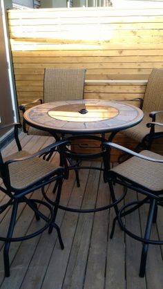 Bar height patio set from Lowes5 Piece High Patio Dining Set Outdoor Living Balcony Bar Height  . Lowes Outdoor Living Sets. Home Design Ideas