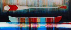 Jamais dire jamais, mixed media canoe painting by Sylvain Leblanc   Effusion Art Gallery + Cast Glass Studio, Invermere BC