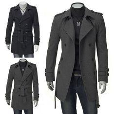 Double Breasted Jacket Men Slim Long Overcoat Winter Warm Cotton Trench Coat | eBay