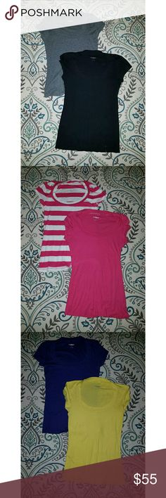 Bundle of 6 express sexy tees. Bundle of 6 express sexy tees. Black, gray, purple, yellow, pink, and pink striped. Each $10 as bundle $55. Express Tops Tees - Short Sleeve