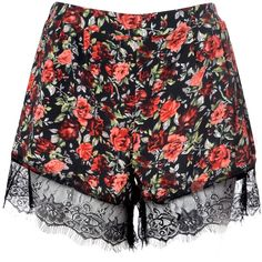 Black Rose Print Shorts With Lace Trim ($12) ❤ liked on Polyvore featuring shorts, multi, patterned shorts, elastic waistband shorts, lace trim shorts, cropped shorts and floral shorts