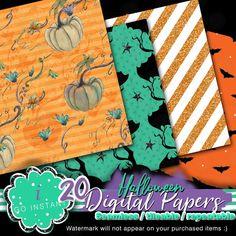 Halloween must digital papers designs fabrics planner colors | Etsy
