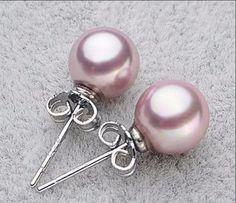 Birthday Gifts    Vintage Japanese Akoya 8mm Pink Pearl Wedding Bridal Bridesmaid Stud Earrings