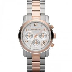 dd4e79d8099c Michael Kors Women s Silver-Tone and Rose Gold-Tone Stainless Steel  Bracelet Watch Jewelry   Watches - Watches - Macy s