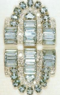 aquamarine Cartier clip brooches owned by Queen Elizabeth