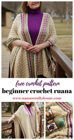 Beginner crochet ruana free crochet pattern. So flattering & easy - the perfect crochet project for a fun & fashionable addition to your cool weather wardrobe! #nanascraftyhome Ruana Wrap, Crochet For Beginners, Crochet Projects, Free Crochet, Crochet Patterns, Cool Stuff, Crochet Chart, Beginner Crochet, All Free Crochet