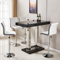 eec3f84b4a7 Caprice Glass Bar Table In Black High Gloss With Stainless Steel Support  And 4 Ritz White