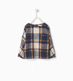 Large blouse with check print-Shirts-Girl-Kids | 4-14 years-KIDS | ZARA Hungary