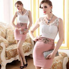 Exquisite graceful lace backless blending waist party dresse...