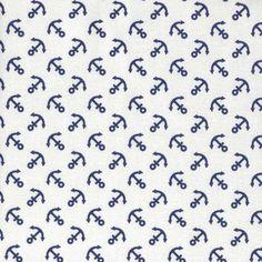 """Schiff ahoi:  Dieser tolle und robuste Baumwollstoff mit blauen Ankern von """"KOKKA"""" versetzt uns sofort in Ferienstimmung. Illustrations, Chic, Art, Printed Cotton, Cotton Textile, White Girls, Anchors, Tulips, Shabby Chic"""