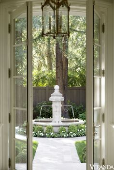 HOUSE TOUR: A Couple Builds Their Dream French Château. In California Fountain, Exquisite Surfaces; This story originally appeared in the January-February issue of VERANDA. Courtyard Landscaping, Courtyard Design, Garden Design, Landscaping Ideas, Courtyard House, Patio Design, Patio Ideas, Design Cour, French Courtyard