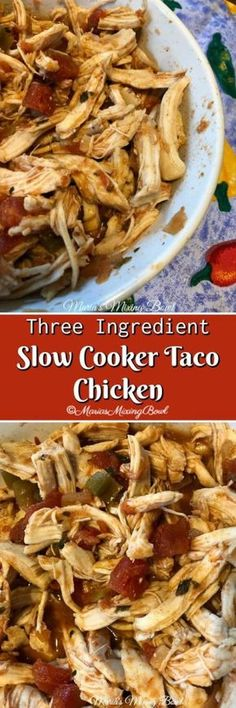Three Ingredient Slow Cooker Taco Chicken - This Three Ingredient Slow Cooker Taco Chicken is the easiest recipe for chicken tacos. Just a few minutes of prep time and a slow cooker and your good to go! #slowcooker #taco #chicken #three #ingredient #tender #easy #chickentacos #crockpot #delicious