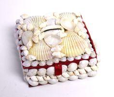 "3"" White Seashells Square Box, $3.99 (http://www.caseashells.com/3-white-square-box/) #seashellbox, #shellcrafts, #whiteshells"