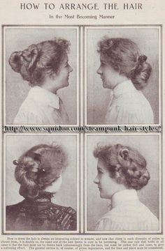 Vintage Hair Older Women. Bottom two. Kaci, Chantell, - I love the look of steampunk. I love these free collage sheets. Seems like a good post for a SSE. And check out these hairstyles! Be sure to have a look at all Betsi's lenses – ther… Historical Hairstyles, Edwardian Hairstyles, Vintage Hairstyles, Cool Hairstyles, Elegant Hairstyles, Bridal Hairstyles, Formal Hairstyles, Summer Hairstyles, Straight Hairstyles