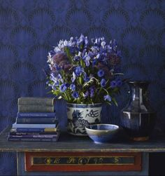 composition in blue, indigo, violet; wallpaper, porcelain