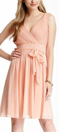 pleated surplice dress