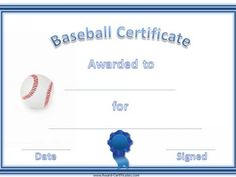 Free printable baseball certificate templates baseball awards a variety of free printable baseball certificate templates many more free sports awards and award certificates on this site yadclub Choice Image