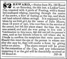 "An 1835 newspaper ad offering a reward for the return of a fancy hat, published in the Newark Daily Advertiser (Newark, New Jersey), 27 June 1835. Read more on the GenealogyBank blog: ""Our Ancestors' Stories Live in Old Newspaper Ads Too."" http://blog.genealogybank.com/our-ancestors-stories-live-in-old-newspaper-ads-too.html"