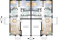 Duplex Plan chp-44105 at COOLhouseplans.com loose staircase; use space for back porch