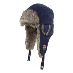 e2109086708 FC Barcelona Ski Trapper Hat Black Beanie Barcelona Cap Fc Soccer Men s  Winter  RHINOX