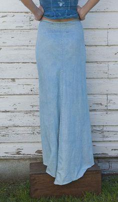 Alabama Denim Long Skirt by Alabama Chanin