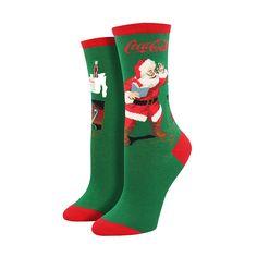 classic coke santa socks green womens - Christmas Socks For Men