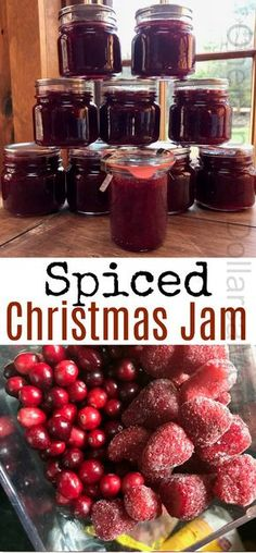 Christmas Jam Spiced Christmas Jam with Strawberries and Cranberries and wonderful holiday spices. Makes perfect Christmas gifts.Spiced Christmas Jam with Strawberries and Cranberries and wonderful holiday spices. Makes perfect Christmas gifts. Christmas Jam, Christmas Treats, Christmas Baking, Food Gifts For Christmas, Christmas Cookies, Carrot Cake Jam, Salsa Dulce, Jam And Jelly, Mint Jelly