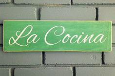 LA COCINA (Choose Color) Spanish Kitchen Rustic Shabby Chic Sign Prim and Proper Decor http://www.amazon.com/dp/B00MAUHU06/ref=cm_sw_r_pi_dp_APsbub0SVSK76