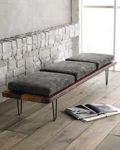 Will said piece maintain its usefulness when you decide to move it from the foot of the bed to the living room or to the entry way?  A graphic pattern of reclaimed South American hardwoods lend the Tarp Bench, $1,899 from Horchow, a natural sensibility that makes it a comfortable fit all over the house.  The Hairpin Leg Floor Cushion Platform Vintage, $129, paired with the Solid Velvet Floor Cushion, $129, both from UrbanOutfitters.com offer the same flexibility on a laid-back scale.