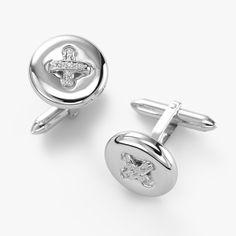 Diamond Stitch Cufflinks, 14K White Gold and Sterling Silver