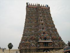 Meenakshi Amman Temple, in the temple city of Madurai, Tamil Nadu, India.The present structure was built between 1623 and 1655 CE