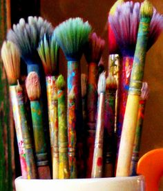 "creativity -- a studio filled with ""old friends"" like well worn paintbrushes, favorite vessels for holding paints and water, or a ragged smock, is a safe and welcoming haven where CREATIVITY can flourish and express."