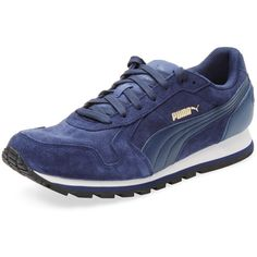 Puma Puma Men's St Runner Low Top Sneaker - Dark Blue/Navy - Size 10 ($49) ❤ liked on Polyvore featuring men's fashion, men's shoes and men's sneakers