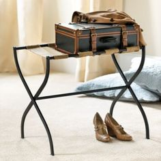 Love this luggage rack from Ballard Designs. It would be so cute as a side table or something with a tray on top! Plus love that it's portable and has many uses!