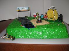 Camp cake for kids birthday party (complete with our dog! Camp Cake, Camping Cakes, Over The Years, Cupcake Cakes, Birthdays, Birthday Parties, Dog, Party, Kids