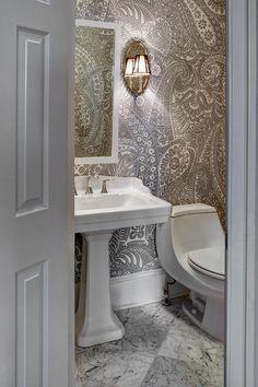 CASE Design - bathrooms - rectangular pedestal sink, traditional pedestal sink, porcelain pedestal sink, pedestal sink, white vanity mirror,...