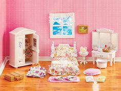 Girl's Lavender Bedroom Set- The white and lavender colors give this pretty bedroom a fresh, modern look. The set features all the essential bedroom furniture pieces, plus over 25 detailed accessories that cover just about everything a girl needs - including an extra outfit and night gown with matching slippers for lots of dress-up fun!